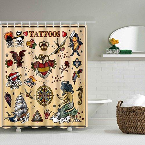 (Yumian 3D Tattoo Shower Curtain Sailboat Skull Print Waterproof Bathroom Decor)