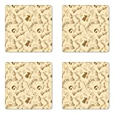Ambesonne Beige Coaster Set of Four, Various Sized