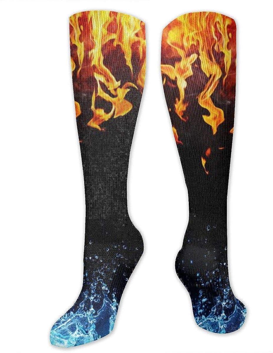 shizh Calcetines hasta la rodilla de algod/ón con marco de fuego y agua Calcetines largos de tubo para deportes Gimnasio Yoga Senderismo Ciclismo