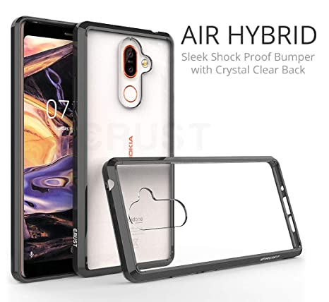 the best attitude 5dabb 6e4b5 CRUST Air Hybrid Ultra Slim Fit Shock Absorption Bumper with Anti Scratch  Crystal Clear TPU Back Case Cover for Nokia 7 Plus (Black)