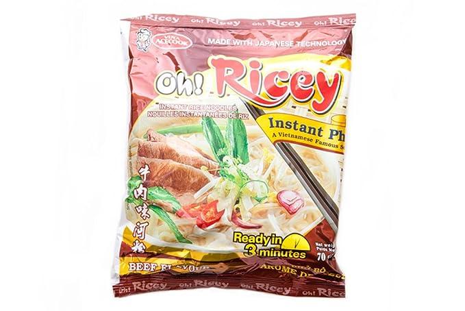 ¡Oh! Ricey fideos de arroz vietnamita Pho Bo Sabor Carne 70g x 4 paquetes