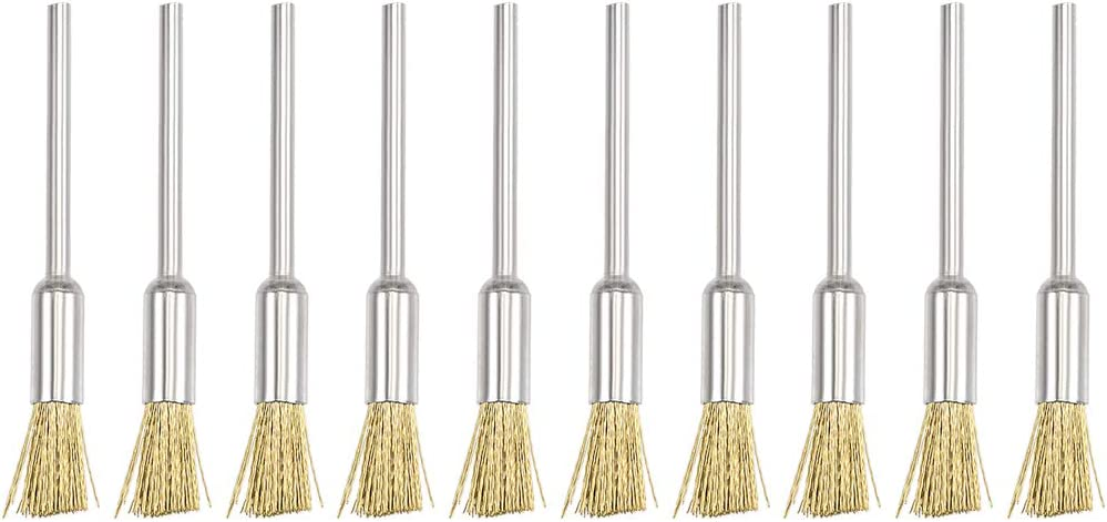 uxcell Mini Wire Cup Brush Brass Plated Crimped Steel 5 X 11mm with 2.35mm Shank 10 Pcs