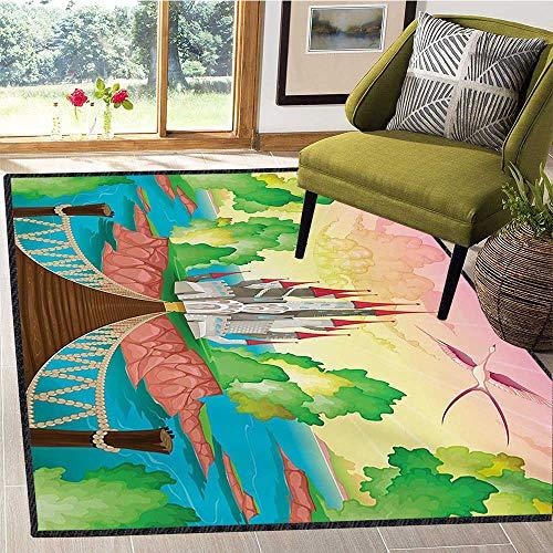 Children, Door Mats Area Rug, Princess Castle Above Wooden Bridge and Phoenix Bird Fairy Dream World Girls Image, Customize Door mats for Home Mat 6x8 Ft Multicolor ()