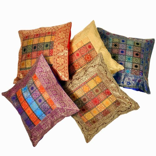 Rastogi Handicrafts Amazing Ethnic Hand-crafted Indian Decorative Brocade Pillow Cushion Cover Shell
