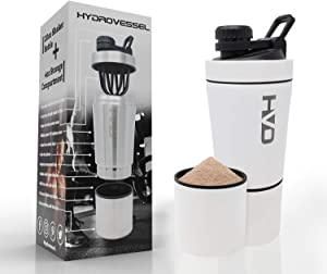 HydroVessel Vacuum Insulated Hot/Cold Protein Shaker Water Bottle ● 20oz Blender + 4oz Cup ● Stainless Steel Double Wall ● Easy Cleaning Mixer ● BPA-Free ● Workout Gym Office ● Smoothies, Ice, More