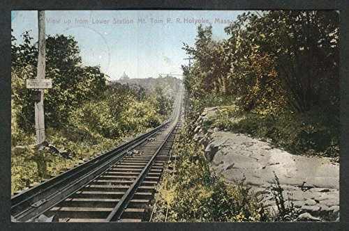 View up from Lower Station Mt Tom Railroad Holyoke MA postcard 1909