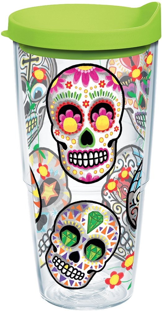 Tervis 1179857 Sugar Skulls Tumbler with Wrap and Lime Green Lid 24oz, Clear
