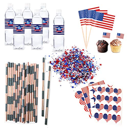 4th of July Party Favors Include 25pcs Water Bottle Label,25pcs Patriotic Straws,100pcs Cupcake Toppers,48pcs Stickers,1oz Patriotic Confetti for Independence Day Party Table Decoration ()