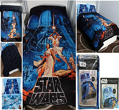 Poster Size Bed Set Full (Classic Star Wars Poster Theme 5pc Full Size Bedding (81