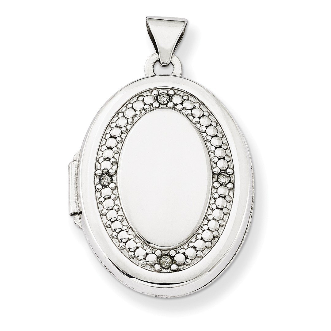 ICE CARATS 14k White Gold 21mm Oval Diamond Texture Photo Pendant Charm Locket Chain Necklace That Holds Pictures Fine Jewelry Gift Set For Women Heart