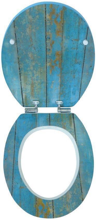 Asiento de inodoro con tapa bajada amortiguada, f/ácil instalaci/ón, superficie brillante color azul dise/ño de madera Sitzplatz 40193 7