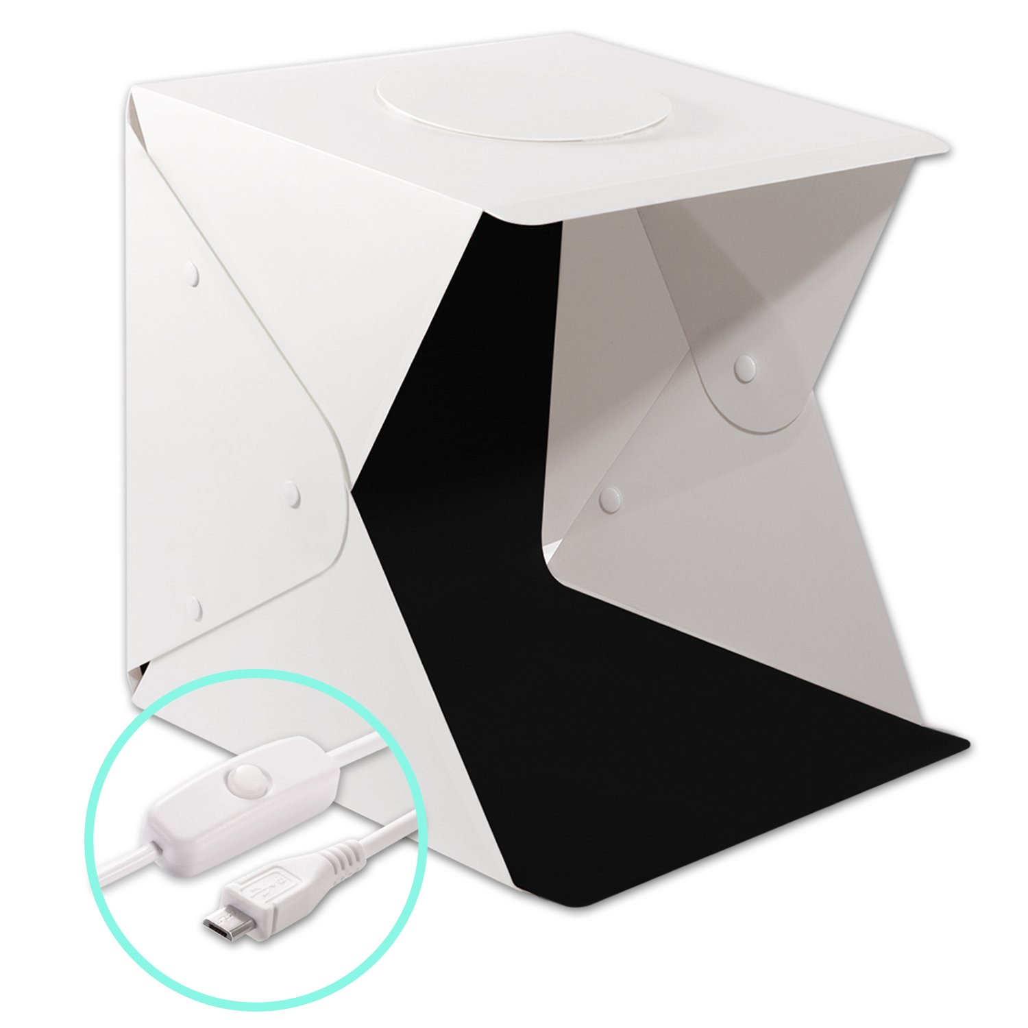 Portable Photography Studio Light Box Shooting Tent, DONWELL Folding LED Photo Studio Light Box Shooting Tent Kit with LED Light and Background (17.7x17.3x17inch)