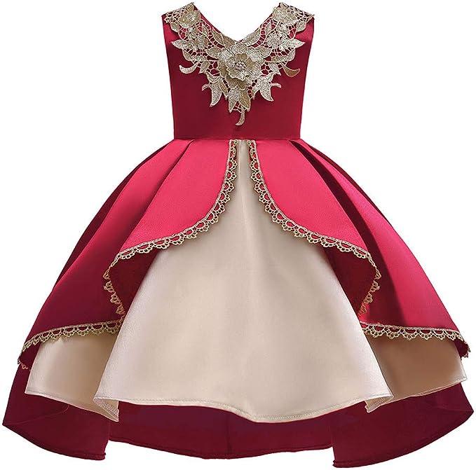 Party Dress Elegance Girl Red Wedding Ceremony Party Abiti da Damigella Principessa Abiti a Coda di Rondine 2-13Y