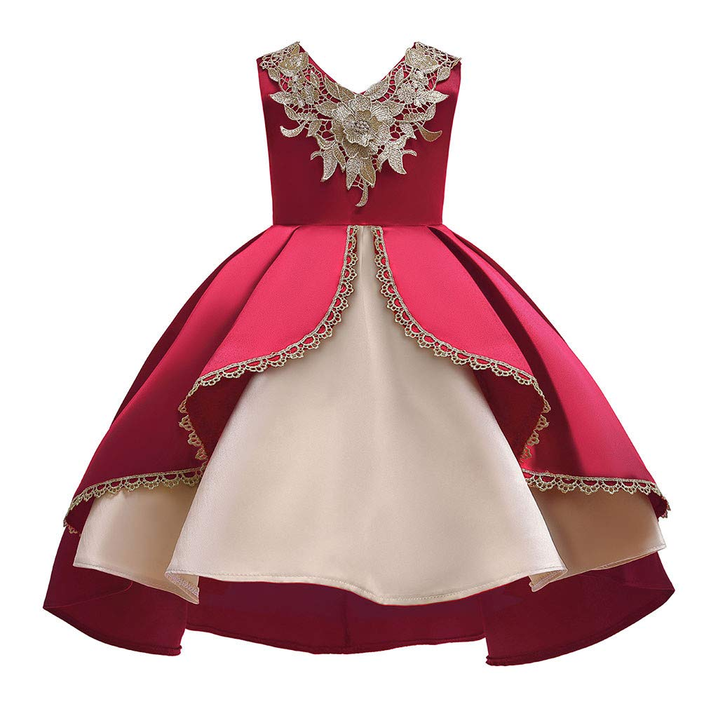 Kids Girls Vintage Princess Dress Floral Lace Sleeveless Party Gown Wedding Pageant Bridesmaid Dresses (Age:8-9 Years, Red) by FDSD Baby Clothes