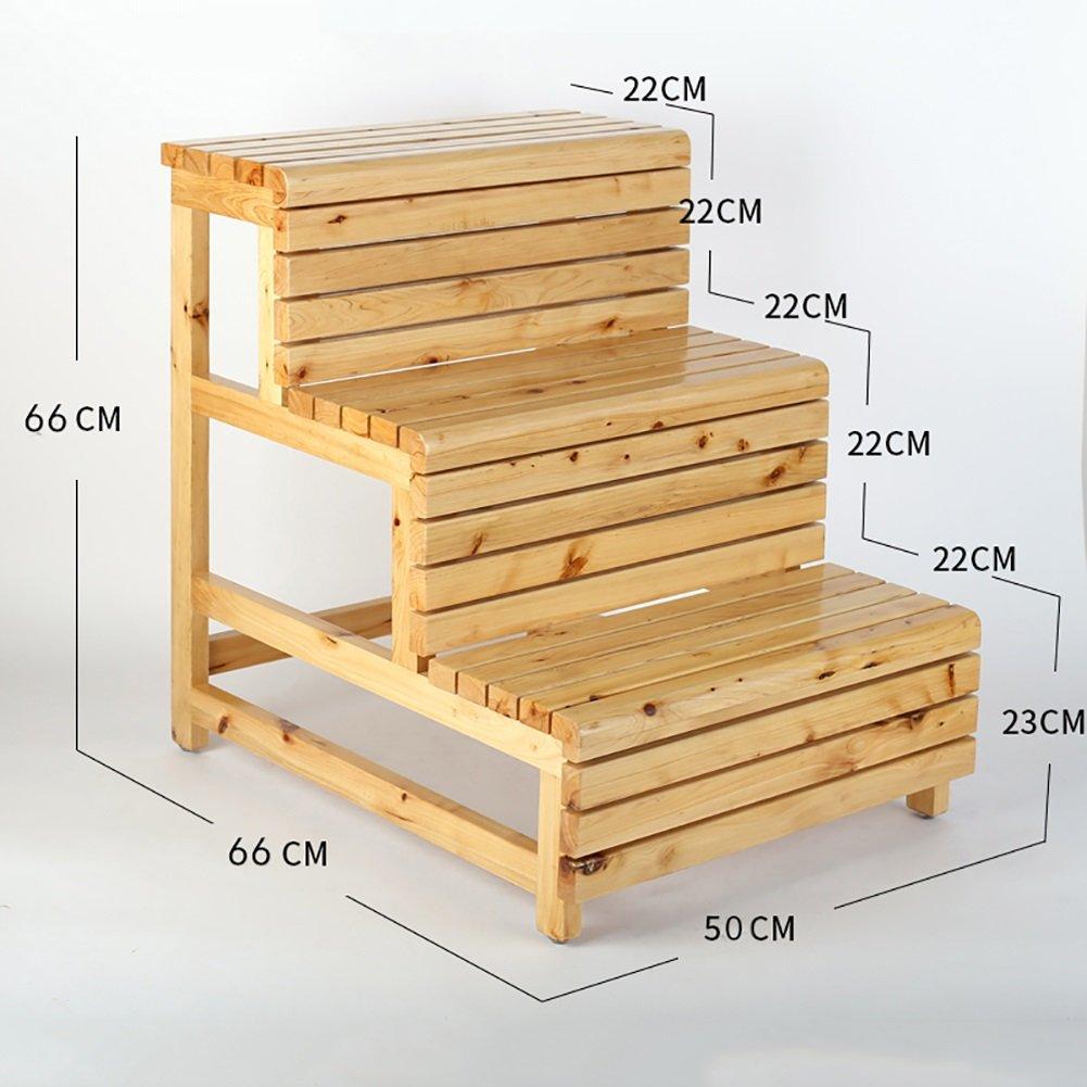 ステップスツール DS- 木製3ステップスツール大人用家庭用品キッチン用品木製はしご小さな足のスツール屋内フラワーラックバルコニー収納棚 @* (色 : 木の色) B07K9R98D2 木の色