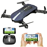 Foldable Drone With 2MP Camera, EACHINE E52 WIFI FPV Quadcopter Drone for kids with Altitude Hold Mode, One Key Take off Landing, 3D Flips Headless Mode Steady Easy Fly RC Helicopter for Beginner RTF (blue)