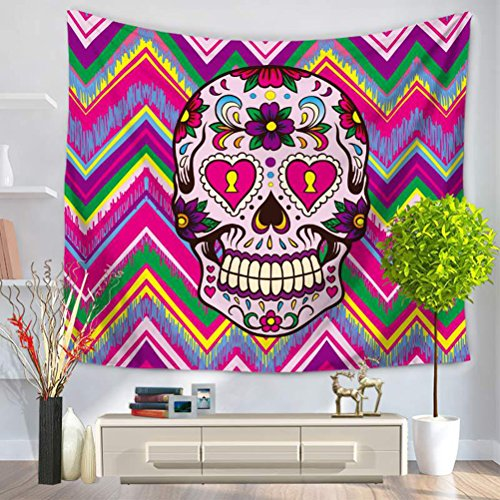 LANGUGU Skulls Tapestry,Colorful Ornate Mexican Sugar Skull Set With Flower And Heart Pattern Calavera Humor Wave Background Print ,59 W X 51 L Inches?Wall Hanging for Bedroom Living Room Dorm ()