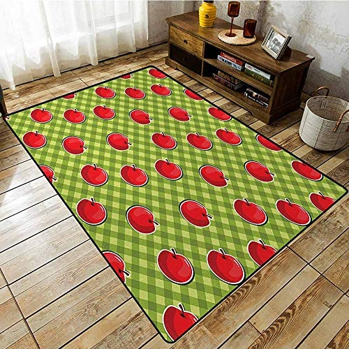 (Rectangular Rug,Apple Diagonal Stripes Plaid Background Organic Fruits Summer Picnic Theme,Anti-Static, Water-Repellent Rugs,6'6