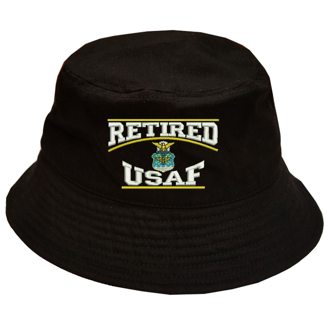 a64f16a30ba Military Retired USAF U.S.Air force Retired 100% Cotton Black Bucket Cap Hat.  by Military