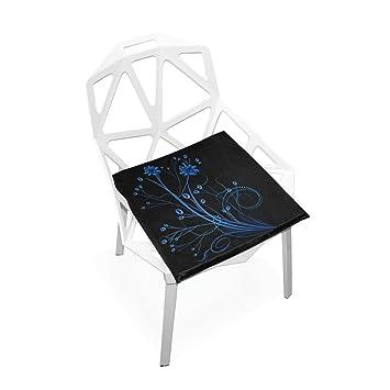 Amazon.com: Xinxin cojines de asiento Cojín Azul de la flor ...