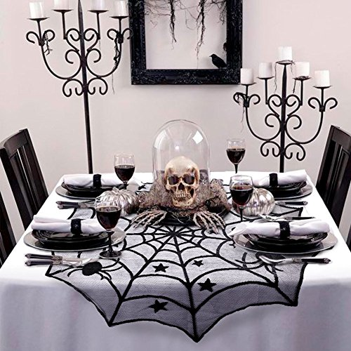 (40-Inch Black Spider Halloween Lace Table Topper Cloth for Halloween Table)