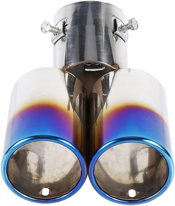 Auspuffrohr Edelstahl Endrohr Qiilu Auspuff Auspuffendrohr Doppelauspuffrohr 55 x 62 x 160mm Universal Schwarze und Silberne Farbe
