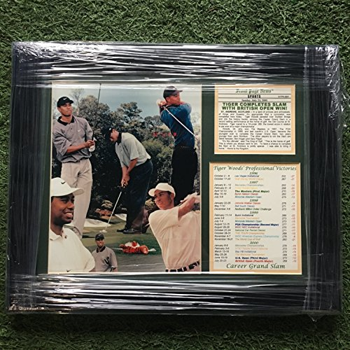 Tiger Woods Grand Slam Golf 17x14 Custom Framed Photo & Career Stats W/ Article