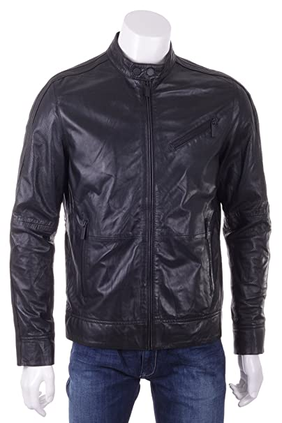 best website 06fc4 c187f Calvin Klein Giubbotto Biker Uomo in Vera Pelle Nero: Amazon ...