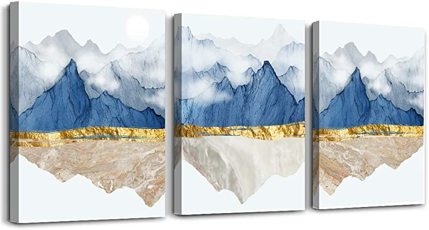 Amazon Com Wall Art For Living Room Bathroom Wall Decor Canvas Prints Artworks Abstract Paintings Wall Decorations For Bedroom 3 Piece Modern Home Decor Sunrise And Sunset Blue Mountain Landscape Pictures Posters