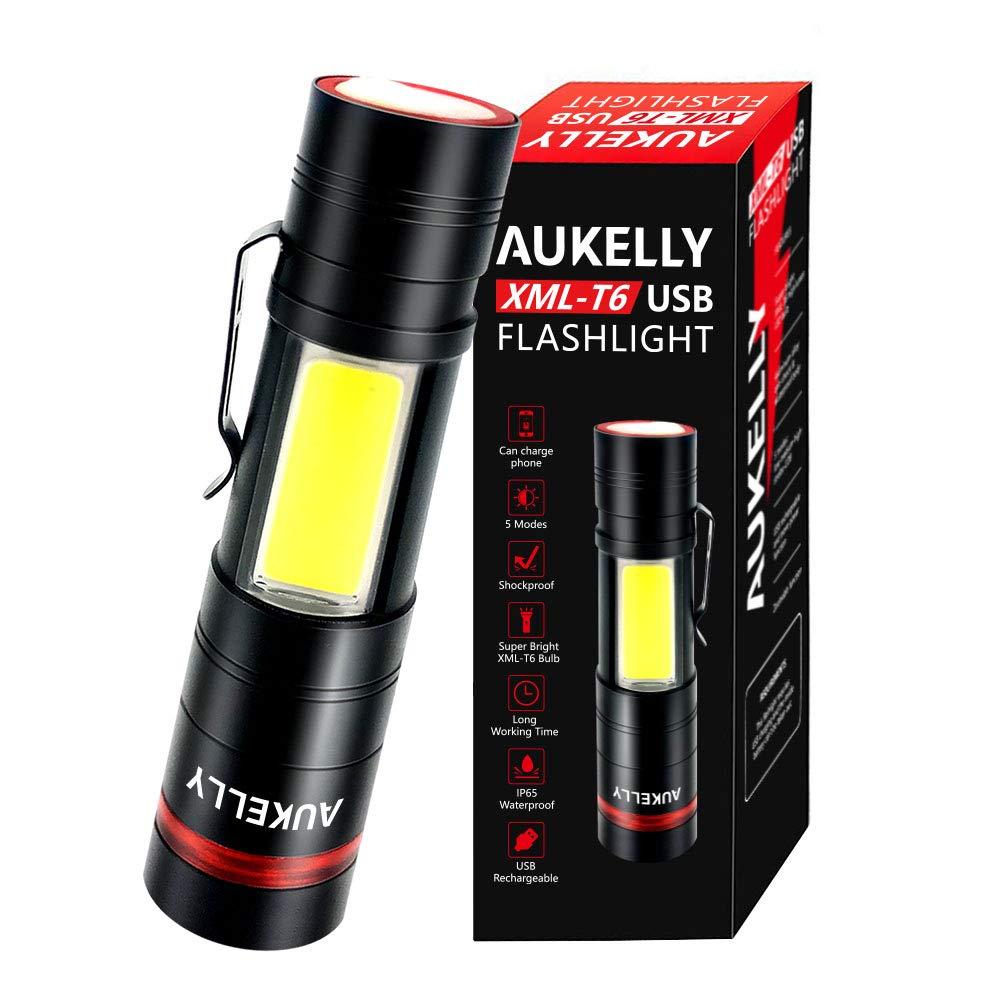 AUKELLY Linterna LED Recargable USB Alta Potencia LED Linterna Tactica Militar,Impermeable Cargador Linternas LED Militar,5 Modo,Zoomable,para ...