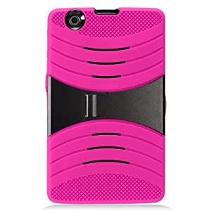 LG G Pad X 8.0 Case, IECUMIE WAVE Skin Protective Cover Case w/ Built-in Kick Stand for LG G Pad X, 8.0 - Hot Pink (Package Include an IECUMIE Stylus Pen)