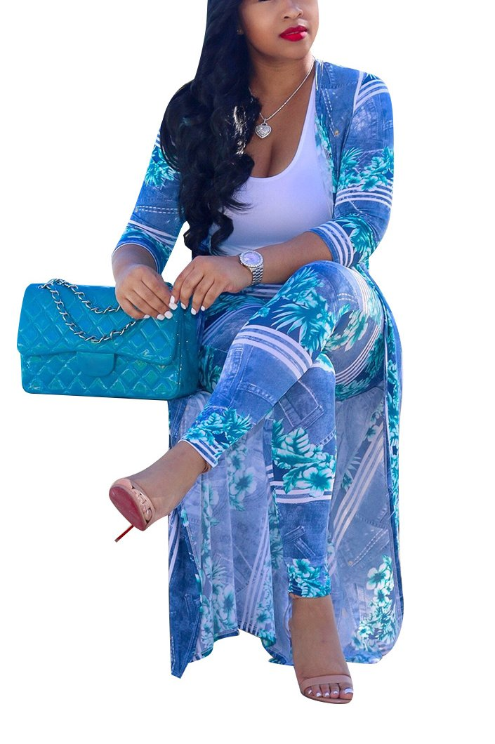 LKOUS Women 2 Piece Outfit Floral 3/4 Sleeve Open Front Kimono Cardigan and Bodycon High Waisted Long Pants Plus Size