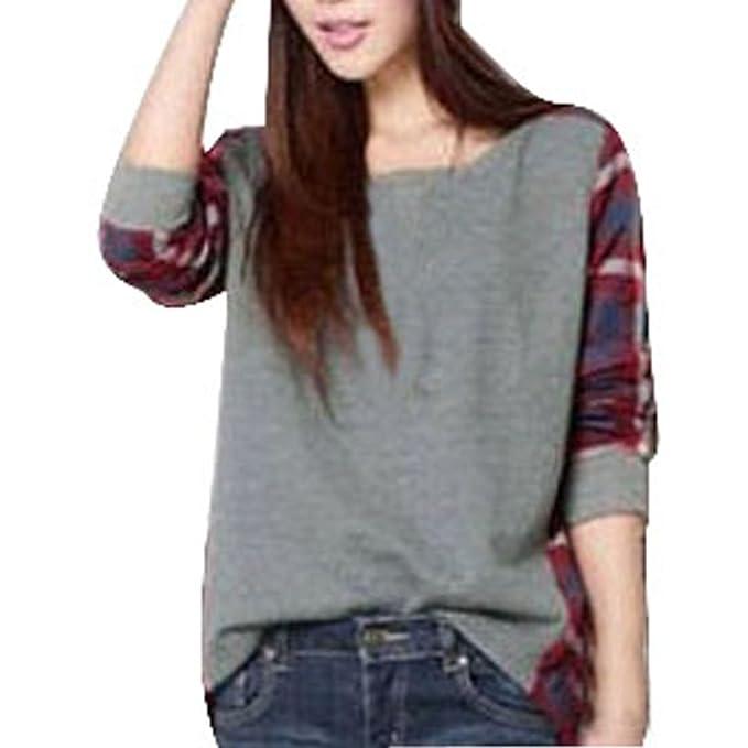 Meily Mujeres Plaid Chequeado manga larga camisa floja ocasional Tops Blusa