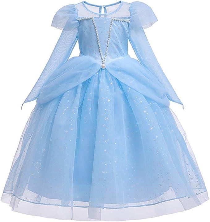 Girls Blue Princess Fancy Dress Costume Age 4-11