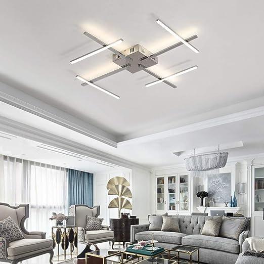 Amazon.com: Lámpara de techo LED moderna cromada de aluminio ...