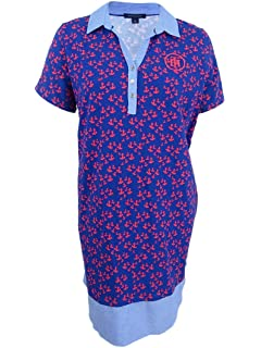 4e657a1b Tommy Hilfiger Womens Plus Short Sleeves Mini Shirtdress Blue 1X at ...