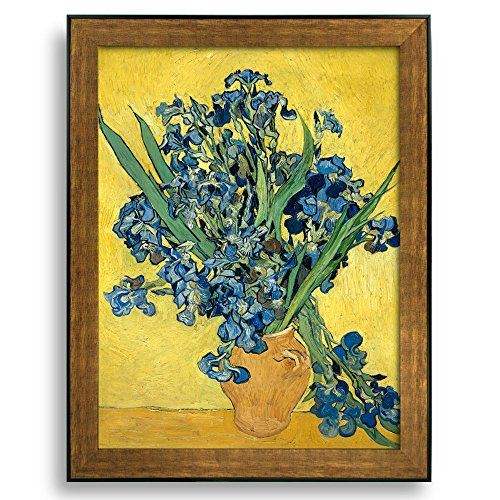 Irises by Vincent Van Gogh Framed Art Print Famous Painting Wall Decor Bronze and Black Frame
