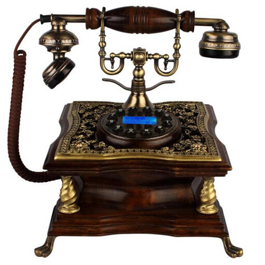 FADACAI Antique Phone Home Seat Machine Classical Solid Wood Living Room Fixed Telephone Hands-Free Dial 22 23 25cm , b by WANG