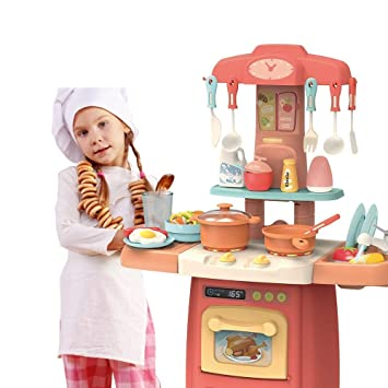 Buy Techtoy Pretended 29 Piece Kitchen Set Smoky Music Real Water Tap For Baby Girls Kids 29 Pcs Big Size Pink Online At Low Prices In India Amazon In