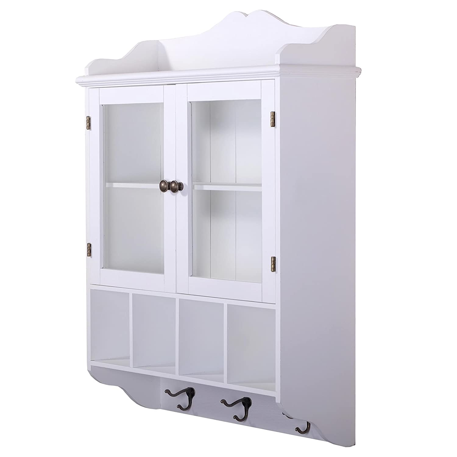 DESIGN DELIGHTS COUNTRY STYLE WALL CABINET LOTTA | antique white, 4 compartments, glass door | shabby chic xtradefactory