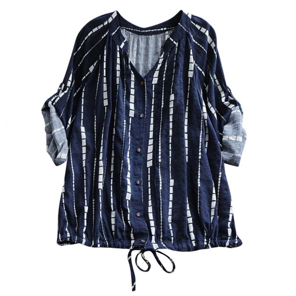BHYDRY Frauen Casual Striped Kordelzug Schnüren Bluse Shirt Tee