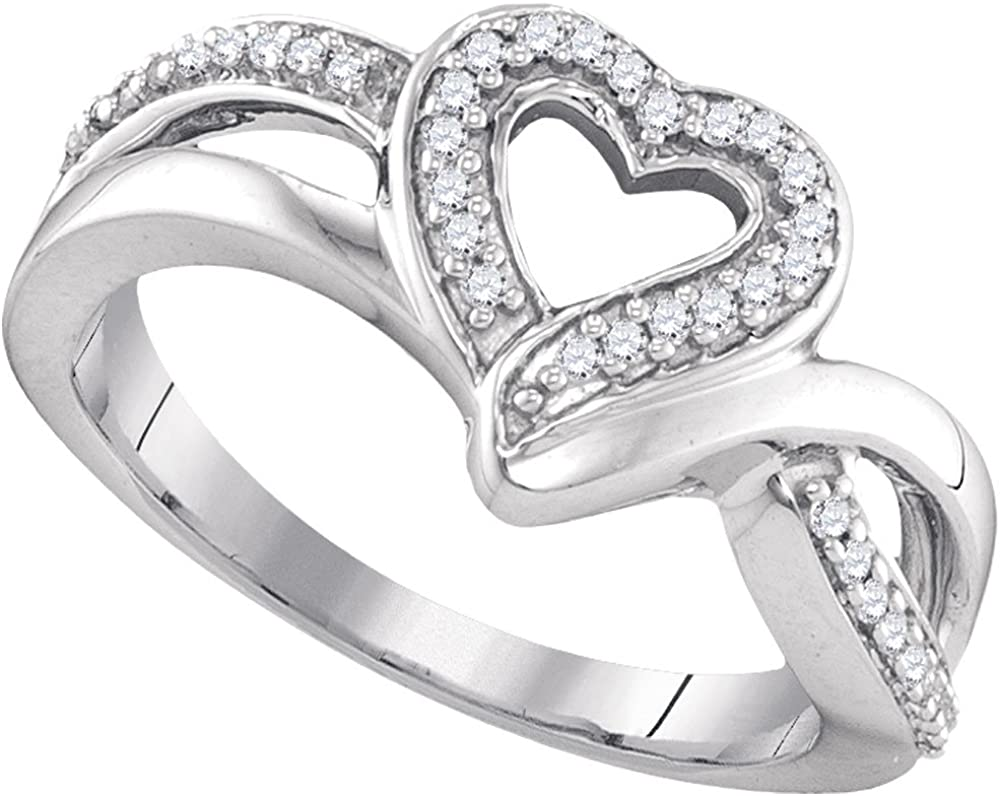 Sterling Silver Round Diamond Heart Frame Cluster Ring 0.11 Cttw