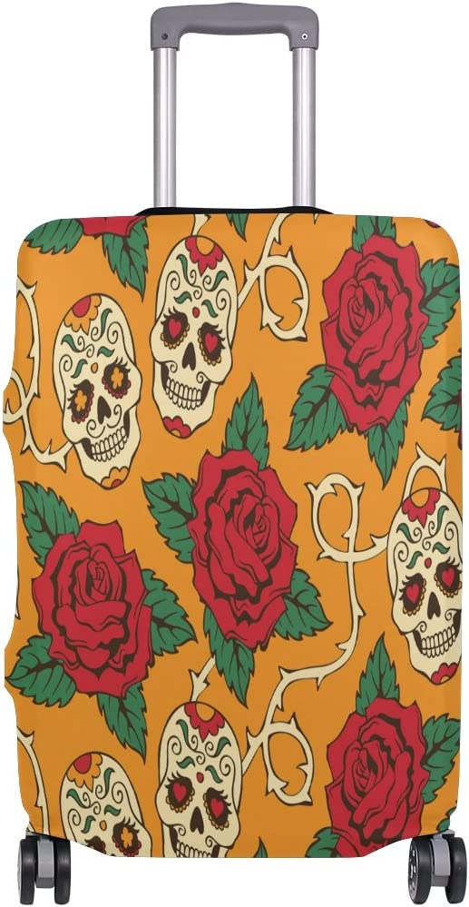 Luggage Protective Covers with Rose And Skull Washable Travel Luggage Cover 18-32 Inch