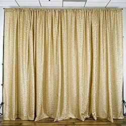 BalsaCircle 20 feet x 10 feet Champagne Metallic Spandex Backdrop Drapes Curtains - Wedding Ceremony Party Photo Booth Home Windows