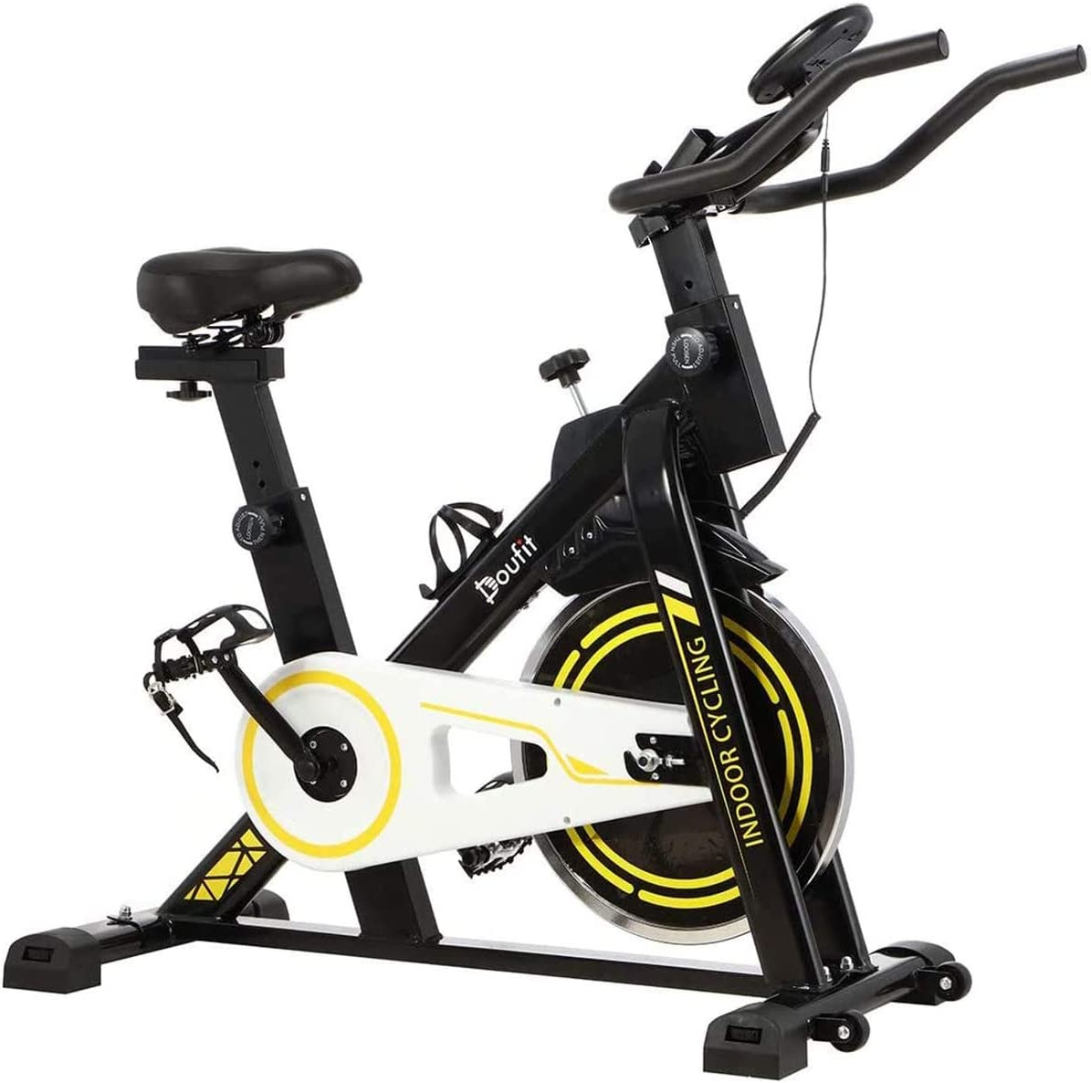 Doufit Indoor Cycling Bike Stationary, Exercise Bike for Home Use, Adjustable Belt Driven Spinning Workout Bicycle with Bottle Holder and LCD Monitor