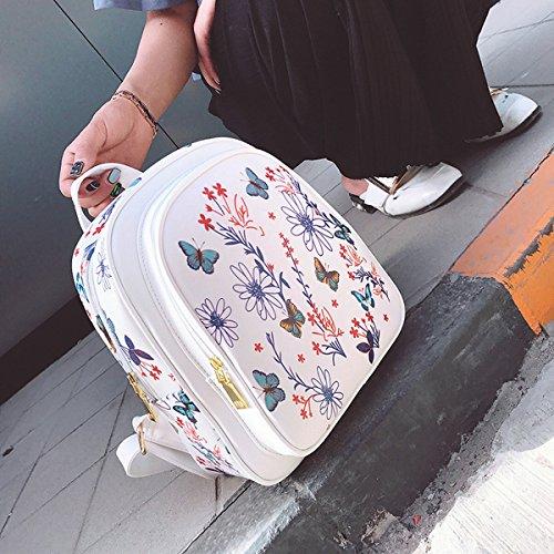 La Flor de la Señora Flor de Inyección de Tinta Imprimió el Bolso de Hombro de la Manera de la Universidad Del Estilo de la Universidad , Blanco
