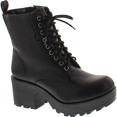 38b7acc4860 SODA Women's Magpie Faux Leather Lace-Up Combat Mid Heel Military Ankle  Boots