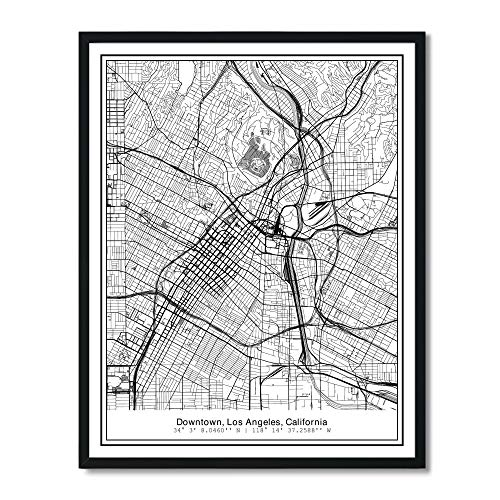 Susie Arts 11X14 Unframed Los Angeles California Metropolitan City View Abstract Street Map Art Print Poster Wall Decor - Map Art Print Poster