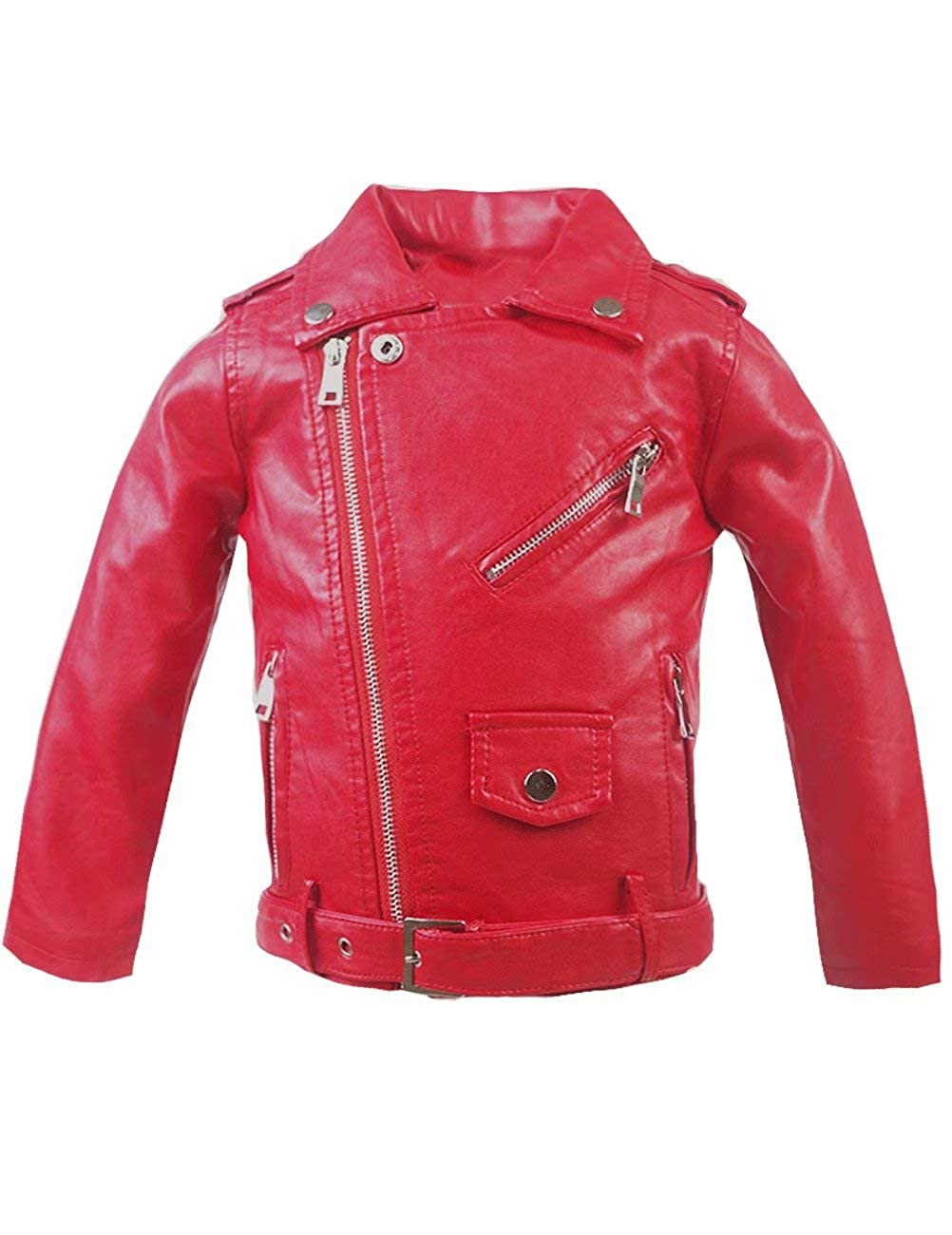 Spring& Gege Little Girls' Classic Motorcycle Faux Leather Jacket Zipper Moto Coat with Belt