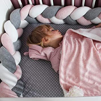 Baby Braided Crib Bumper Soft Knot Pillow Protective /& Decorative Long Baby Nursery Bedding Cushion Knot Plush Pillow for Toddler//Newborn Pink White 157 inch